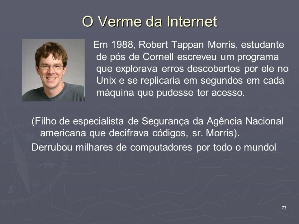 73 O Verme da Internet Em 1988, Robert Tappan Morris, estudante de pós de Cornell escreveu um programa que explorava erros descobertos por ele no Unix e se replicaria em segundos em cada máquina que pudesse ter acesso.
