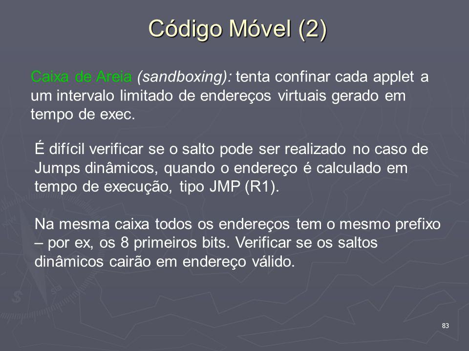 83 Código Móvel (2) Caixa de Areia (sandboxing): tenta confinar cada applet a um intervalo limitado de endereços virtuais gerado em tempo de exec.