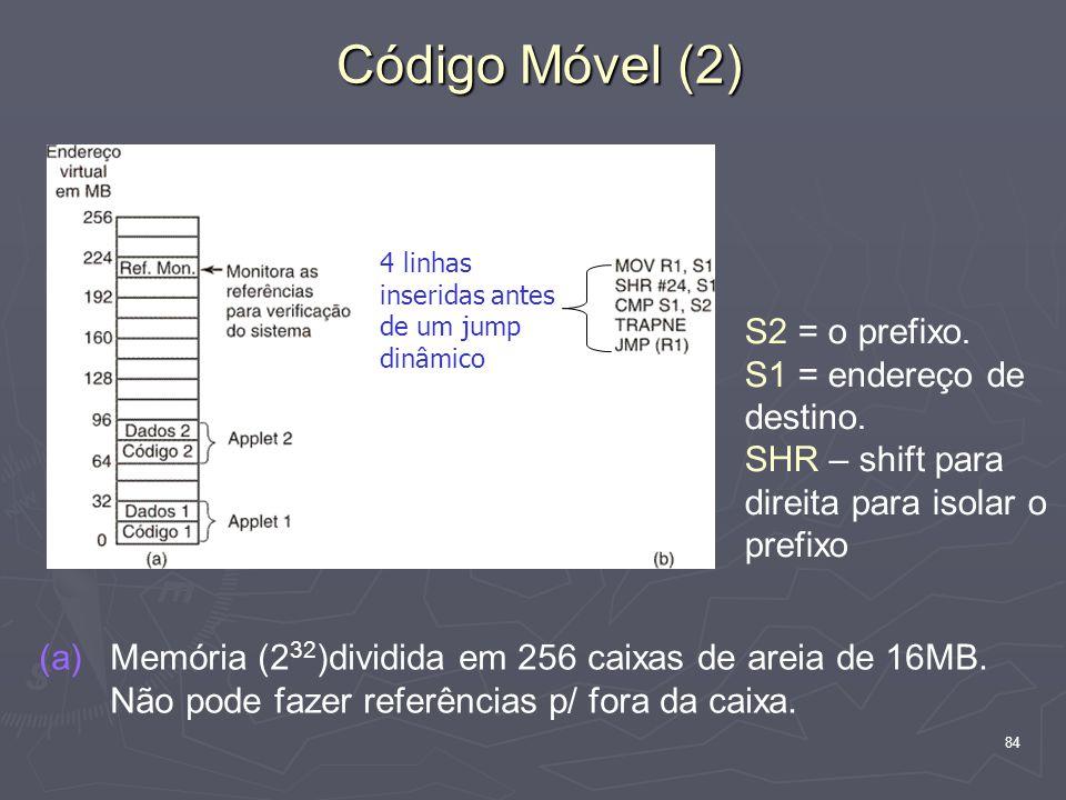 84 Código Móvel (2) (a) (a)Memória (2 32 )dividida em 256 caixas de areia de 16MB.