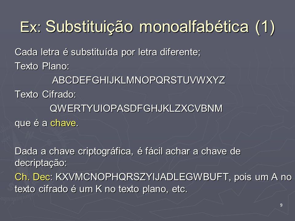 9 Ex: Substituição monoalfabética (1) Cada letra é substituída por letra diferente; Texto Plano: ABCDEFGHIJKLMNOPQRSTUVWXYZ Texto Cifrado: QWERTYUIOPASDFGHJKLZXCVBNM que é a chave.