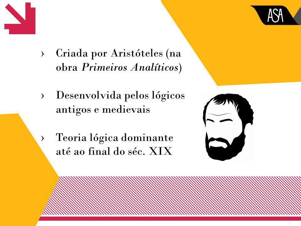 ›Criada por Aristóteles (na obra Primeiros Analíticos) ›Desenvolvida pelos lógicos antigos e medievais ›Teoria lógica dominante até ao final do séc. X