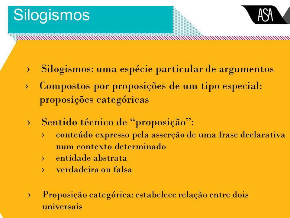 ›Silogismos: uma espécie particular de argumentos Silogismos ›Compostos por proposições de um tipo especial: proposições categóricas ›Sentido técnico