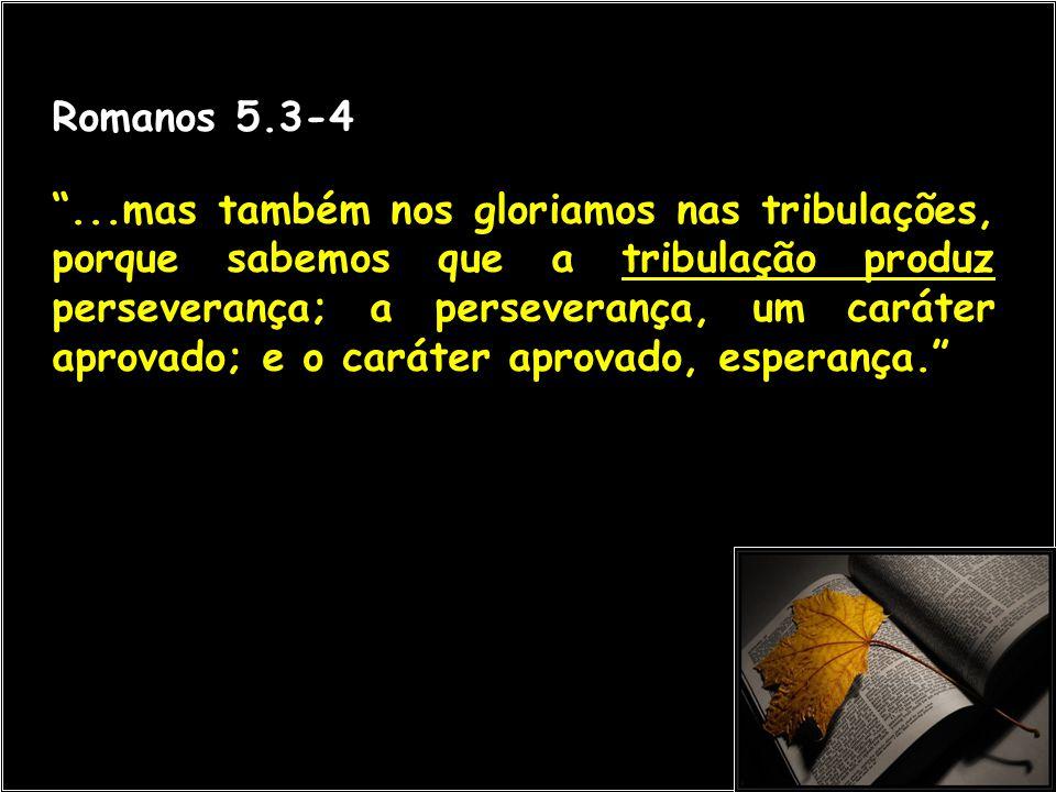 """Romanos 5.3-4 """"...mas também nos gloriamos nas tribulações, porque sabemos que a tribulação produz perseverança; a perseverança, um caráter aprovado;"""