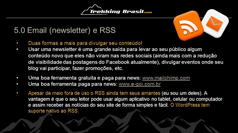 5.0 Email (newsletter) e RSS Duas formas a mais para divulgar seu conteúdo! Usar uma newsletter é uma grande saída para levar ao seu público algum con