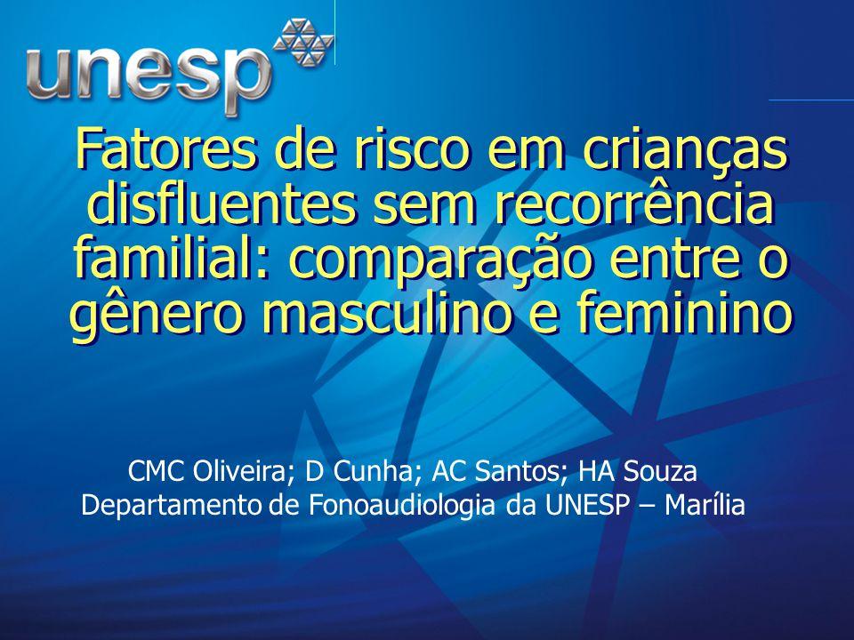 Fatores de risco em crianças disfluentes sem recorrência familial: comparação entre o gênero masculino e feminino CMC Oliveira; D Cunha; AC Santos; HA