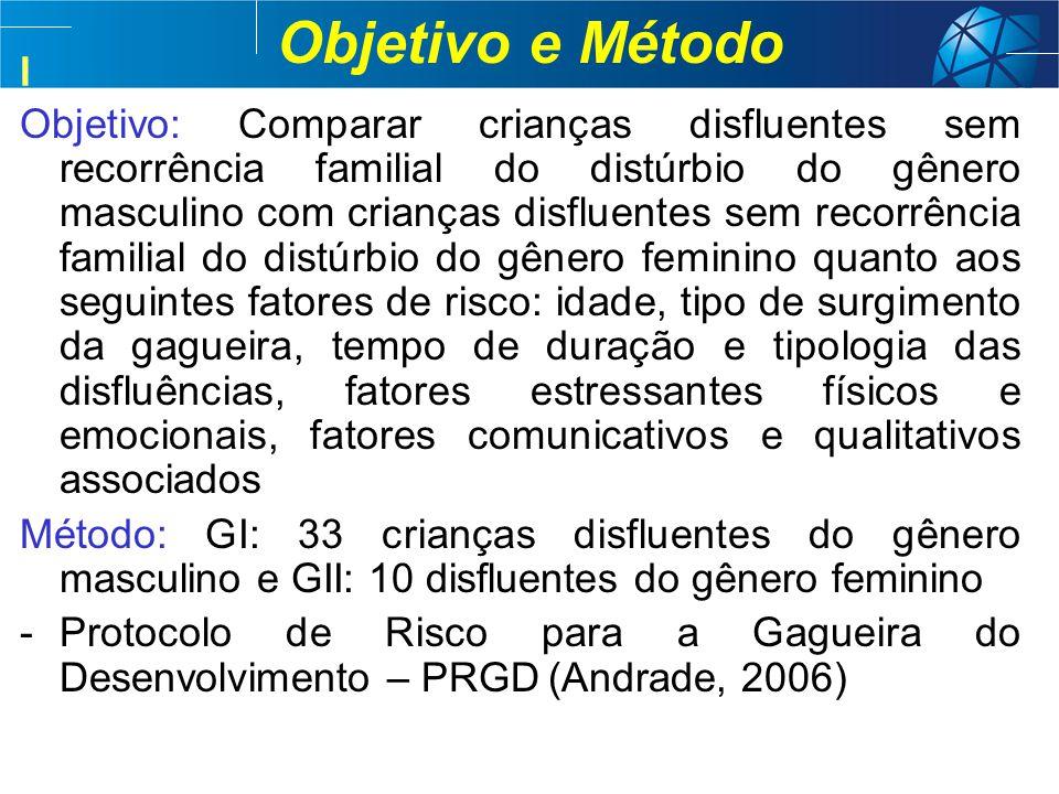 I Objetivo e Método Objetivo: Comparar crianças disfluentes sem recorrência familial do distúrbio do gênero masculino com crianças disfluentes sem rec