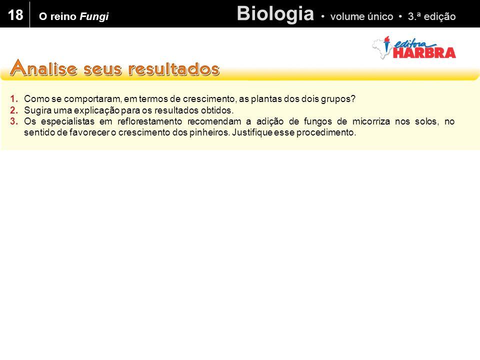 Biologia volume único 3.ª edição 18 1.Como se comportaram, em termos de crescimento, as plantas dos dois grupos.