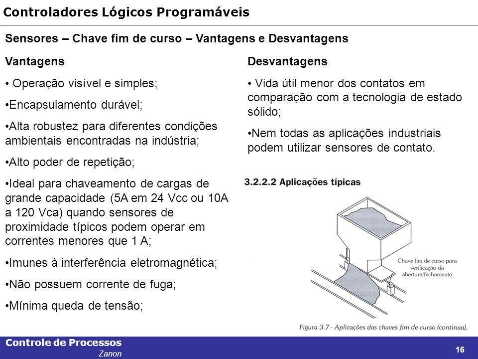 Controle de Processos Zanon 16 Controladores Lógicos Programáveis Sensores – Chave fim de curso – Vantagens e Desvantagens Vantagens Operação visível