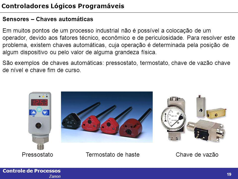 Controle de Processos Zanon 19 Controladores Lógicos Programáveis Sensores – Chaves automáticas Em muitos pontos de um processo industrial não é possí