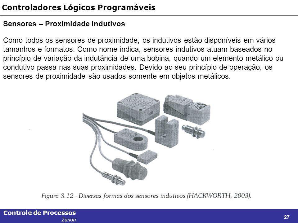 Controle de Processos Zanon 27 Controladores Lógicos Programáveis Sensores – Proximidade Indutivos Como todos os sensores de proximidade, os indutivos