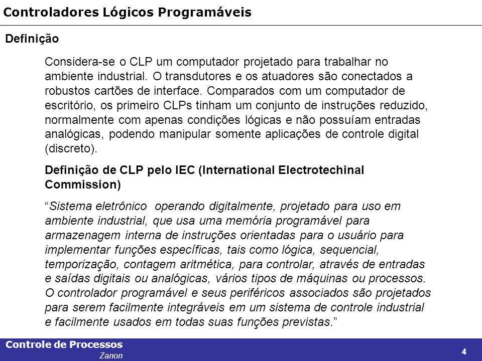 Controle de Processos Zanon 4 Controladores Lógicos Programáveis Definição Considera-se o CLP um computador projetado para trabalhar no ambiente indus