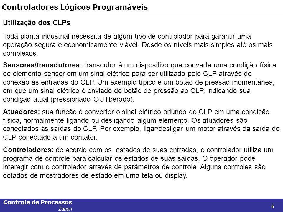 Controle de Processos Zanon 5 Controladores Lógicos Programáveis Utilização dos CLPs Toda planta industrial necessita de algum tipo de controlador par