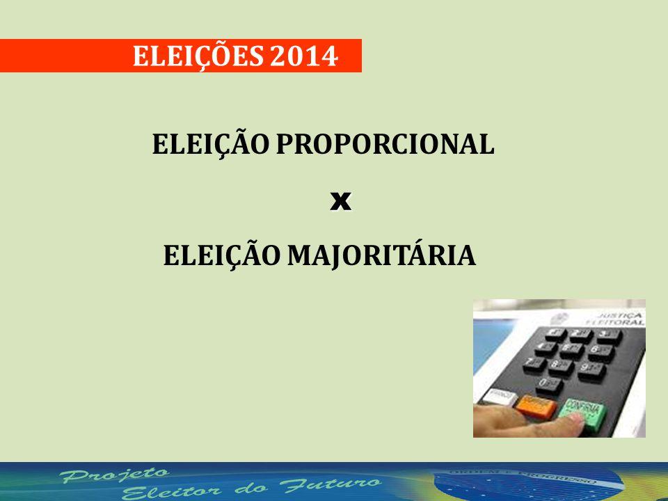 ELEIÇÕES 2014 ELEIÇÃO PROPORCIONALx ELEIÇÃO MAJORITÁRIA
