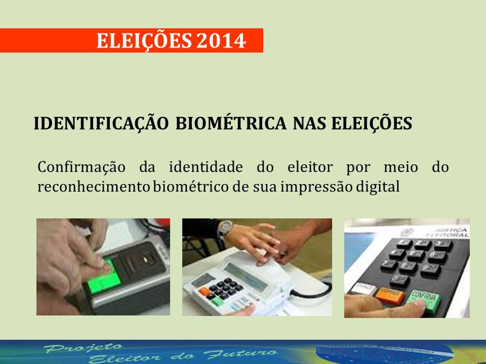 Confirmação da identidade do eleitor por meio do reconhecimento biométrico de sua impressão digital ELEIÇÕES 2014 IDENTIFICAÇÃO BIOMÉTRICA NAS ELEIÇÕES