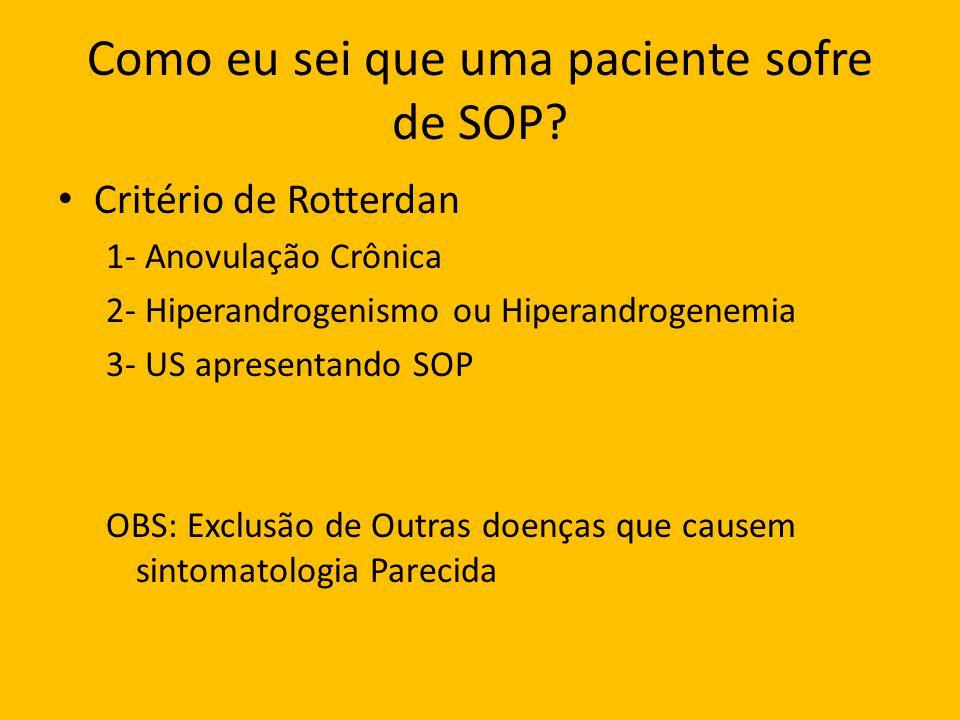 Como eu sei que uma paciente sofre de SOP? Critério de Rotterdan 1- Anovulação Crônica 2- Hiperandrogenismo ou Hiperandrogenemia 3- US apresentando SO