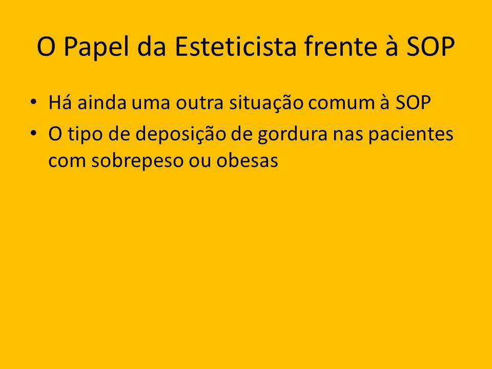 O Papel da Esteticista frente à SOP Há ainda uma outra situação comum à SOP O tipo de deposição de gordura nas pacientes com sobrepeso ou obesas