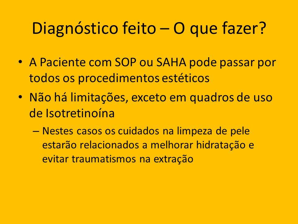Diagnóstico feito – O que fazer? A Paciente com SOP ou SAHA pode passar por todos os procedimentos estéticos Não há limitações, exceto em quadros de u