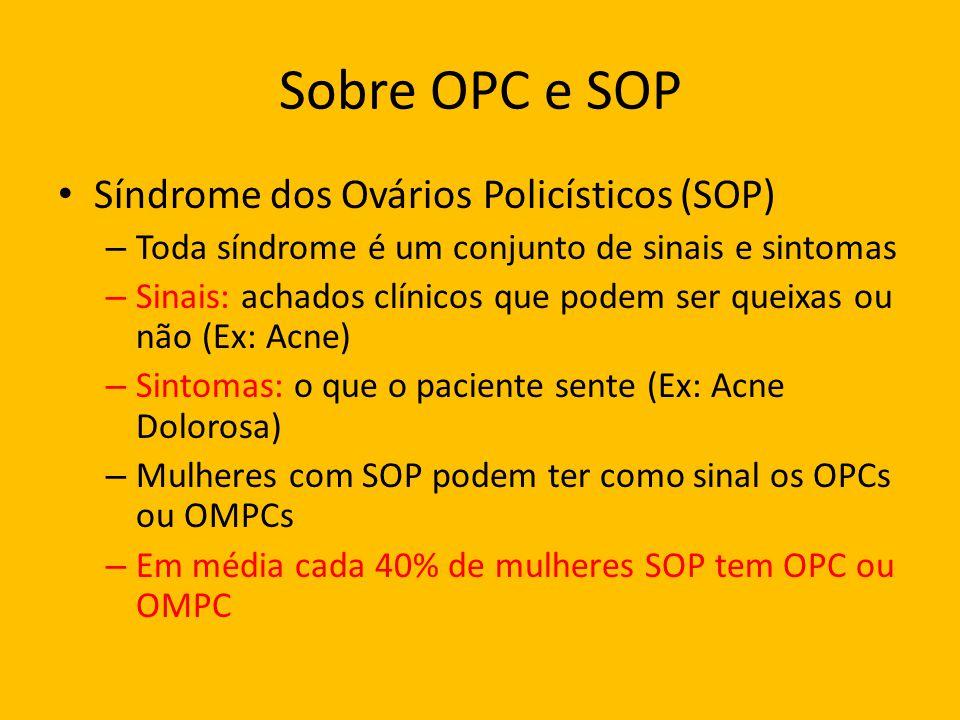 Sobre OPC e SOP Síndrome dos Ovários Policísticos (SOP) – Toda síndrome é um conjunto de sinais e sintomas – Sinais: achados clínicos que podem ser qu