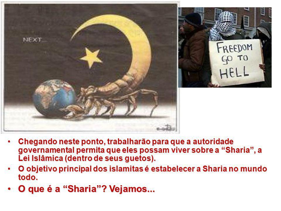 """Chegando neste ponto, trabalharão para que a autoridade governamental permita que eles possam viver sobre a """"Sharia"""", a Lei Islâmica (dentro de seus g"""