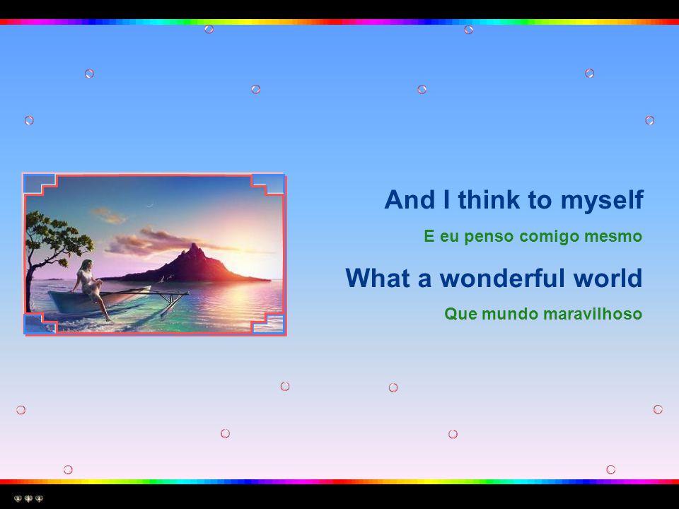 And I think to myself E eu penso comigo mesmo What a wonderful world Que mundo maravilhoso