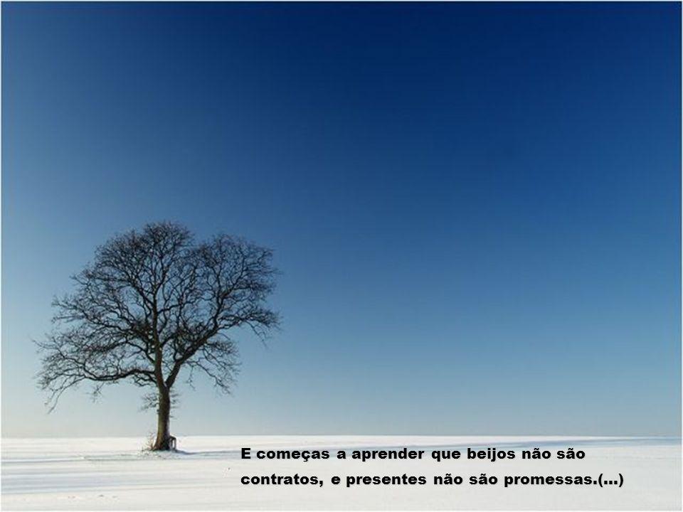E começas a aprender que beijos não são contratos, e presentes não são promessas.(...)