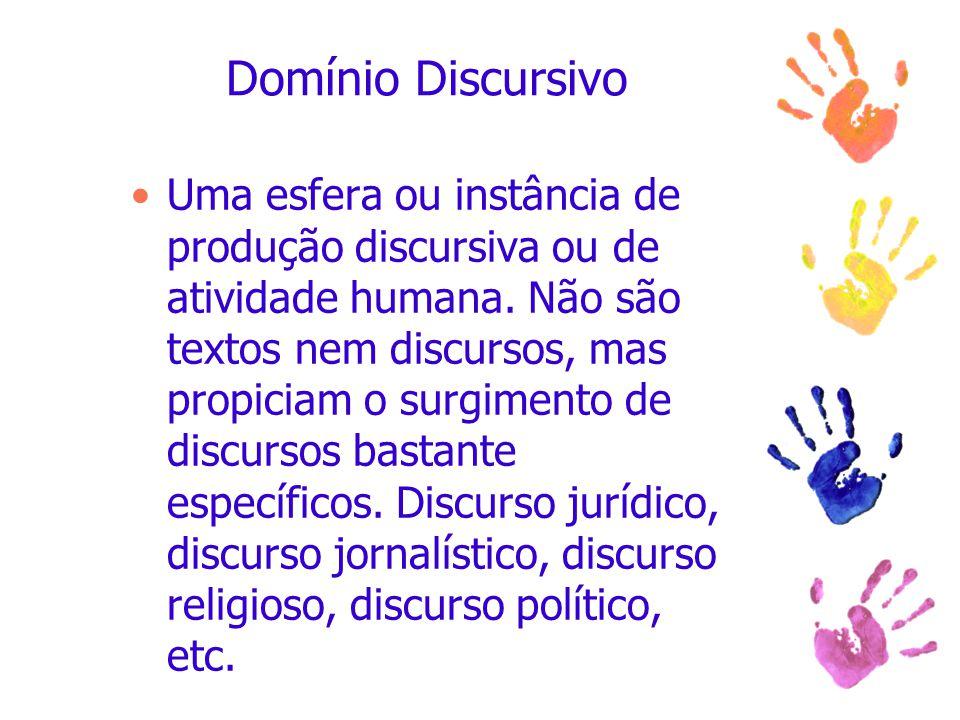 Domínio Discursivo Uma esfera ou instância de produção discursiva ou de atividade humana.