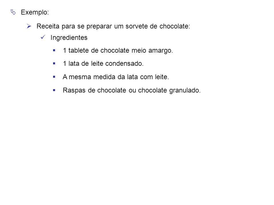  Exemplo:  Receita para se preparar um sorvete de chocolate: Ingredientes  1 tablete de chocolate meio amargo.  1 lata de leite condensado.  A me