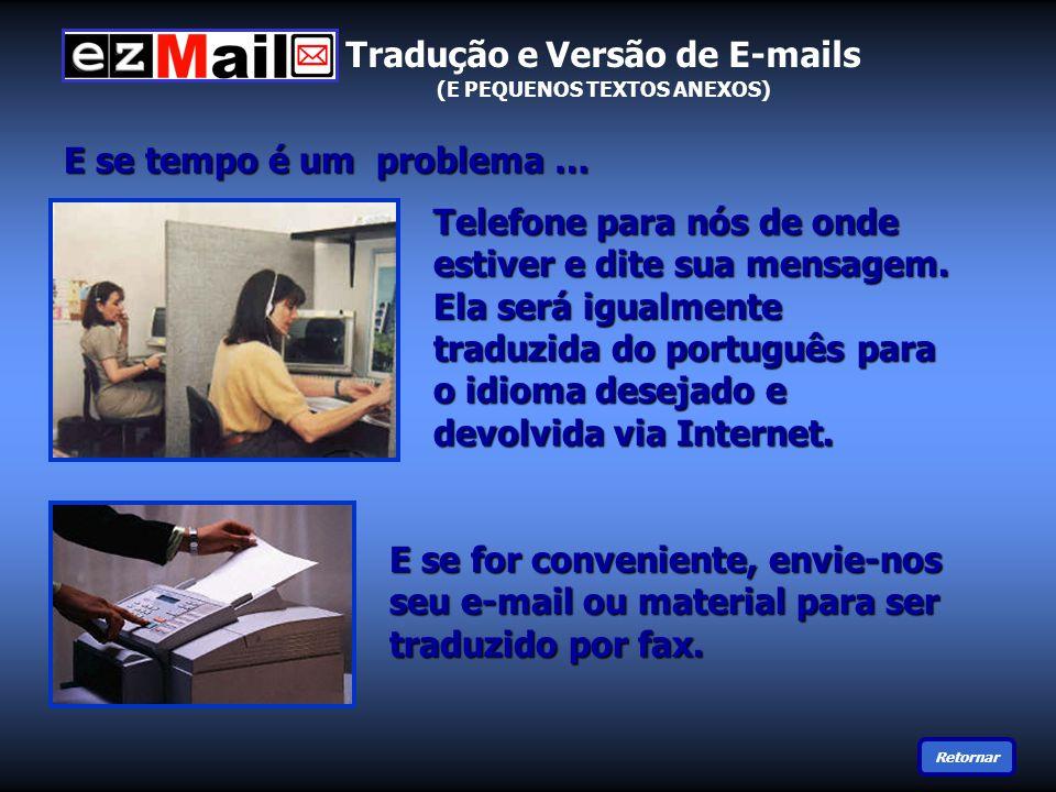 E se tempo é um problema … E se for conveniente, envie-nos seu e-mail ou material para ser traduzido por fax.