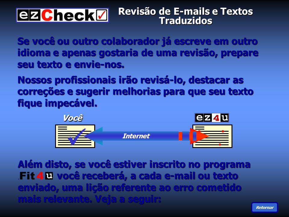 Revisão de E-mails e Textos Traduzidos Se você ou outro colaborador já escreve em outro idioma e apenas gostaria de uma revisão, prepare seu texto e envie-nos.