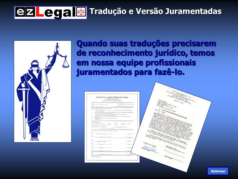 Tradução e Versão Juramentadas Quando suas traduções precisarem de reconhecimento jurídico, temos em nossa equipe profissionais juramentados para fazê-lo.