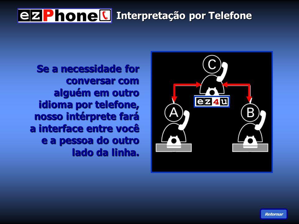 Se a necessidade for conversar com alguém em outro idioma por telefone, nosso intérprete fará a interface entre você e a pessoa do outro lado da linha.