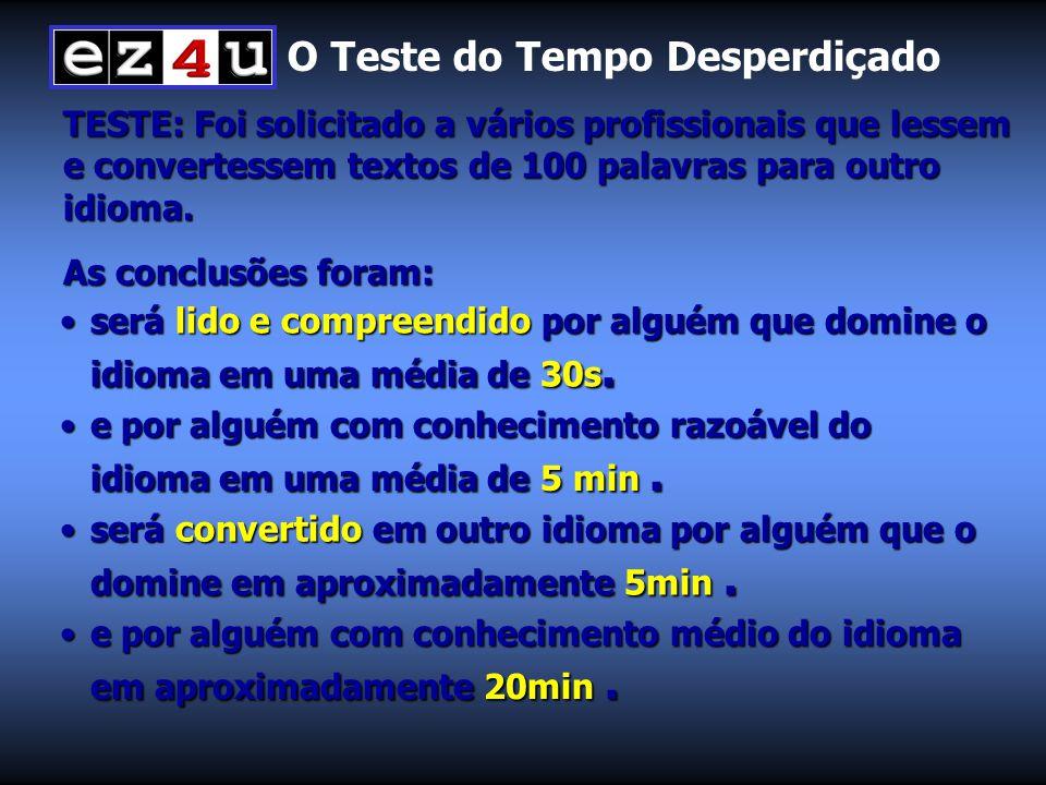 O Teste do Tempo Desperdiçado TESTE: Foi solicitado a vários profissionais que lessem e convertessem textos de 100 palavras para outro idioma.