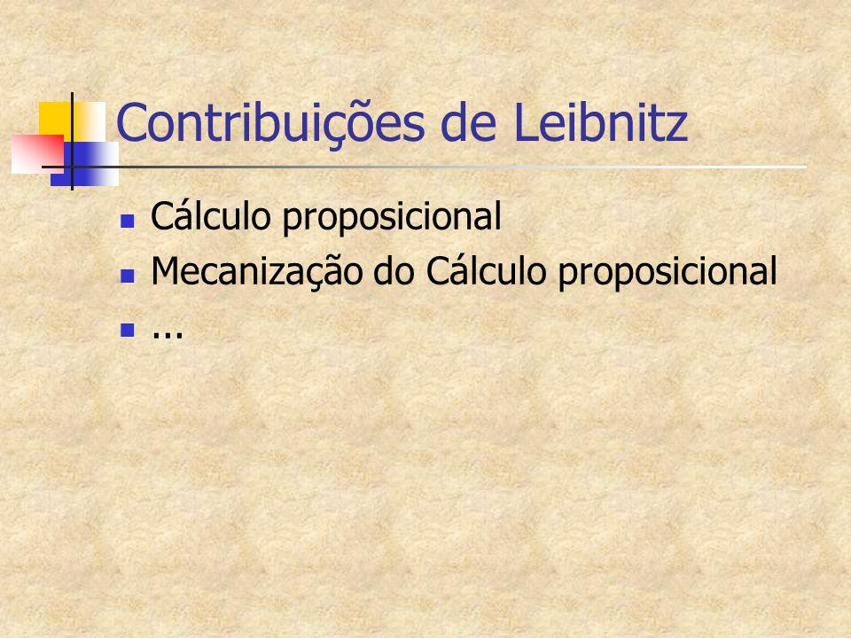Contribuições de Leibnitz Cálculo proposicional Mecanização do Cálculo proposicional...