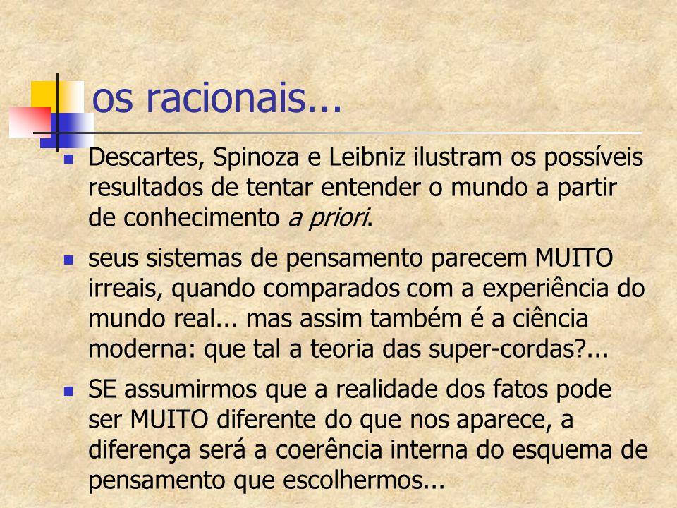 os racionais... Descartes, Spinoza e Leibniz ilustram os possíveis resultados de tentar entender o mundo a partir de conhecimento a priori. seus siste