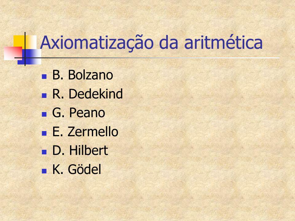 Axiomatização da aritmética B. Bolzano R. Dedekind G. Peano E. Zermello D. Hilbert K. Gödel