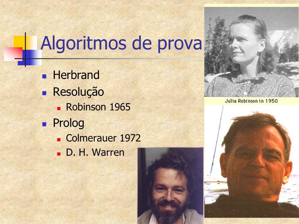 Algoritmos de prova Herbrand Resolução Robinson 1965 Prolog Colmerauer 1972 D. H. Warren