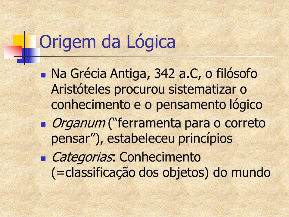 """Origem da Lógica Na Grécia Antiga, 342 a.C, o filósofo Aristóteles procurou sistematizar o conhecimento e o pensamento lógico Organum (""""ferramenta par"""