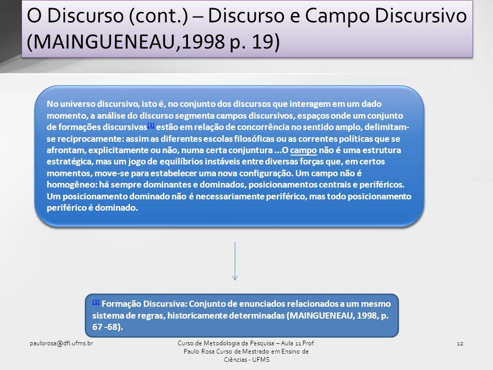 O Discurso (cont.) – Discurso e Campo Discursivo ( MAINGUENEAU,1998 p. 19) paulorosa@dfi.ufms.br12Curso de Metodologia da Pesquisa – Aula 11 Prof. Pau
