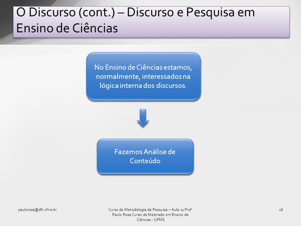 O Discurso (cont.) – Discurso e Pesquisa em Ensino de Ciências paulorosa@dfi.ufms.br16Curso de Metodologia da Pesquisa – Aula 11 Prof. Paulo Rosa Curs