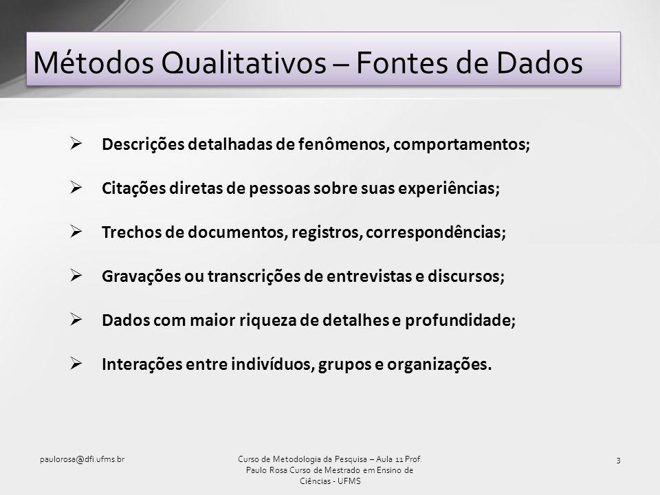 Métodos Qualitativos – Fontes de Dados paulorosa@dfi.ufms.br3Curso de Metodologia da Pesquisa – Aula 11 Prof. Paulo Rosa Curso de Mestrado em Ensino d