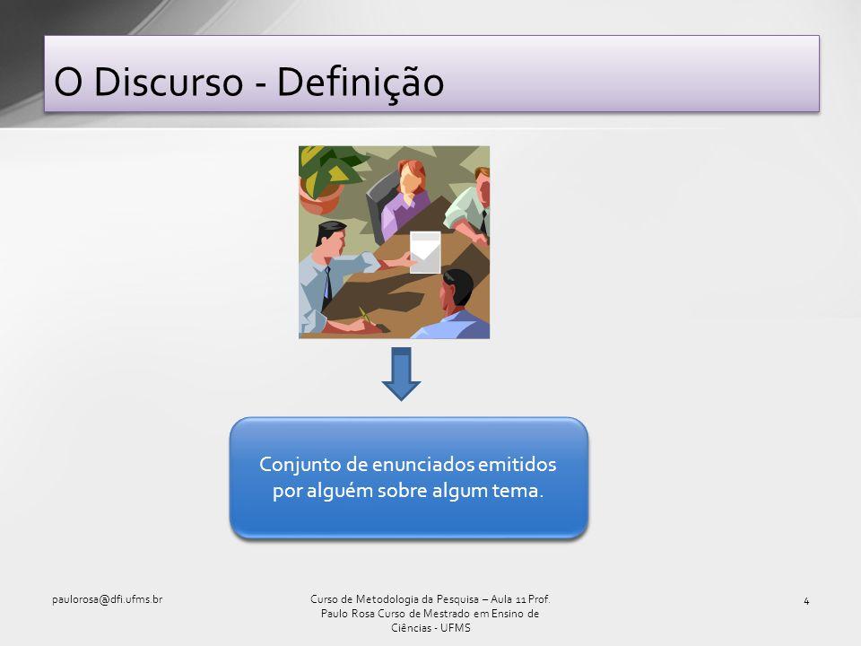 O Discurso - Definição paulorosa@dfi.ufms.br4Curso de Metodologia da Pesquisa – Aula 11 Prof. Paulo Rosa Curso de Mestrado em Ensino de Ciências - UFM