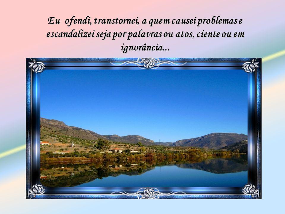 Eu ofendi, transtornei, a quem causei problemas e escandalizei seja por palavras ou atos, ciente ou em ignorância...
