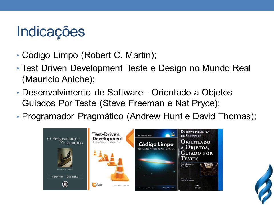 Indicações Código Limpo (Robert C. Martin); Test Driven Development Teste e Design no Mundo Real (Mauricio Aniche); Desenvolvimento de Software - Orie