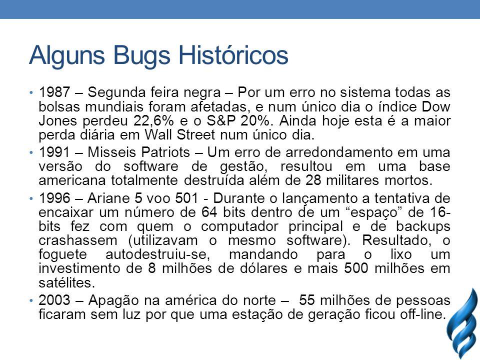 Alguns Bugs Históricos 1987 – Segunda feira negra – Por um erro no sistema todas as bolsas mundiais foram afetadas, e num único dia o índice Dow Jones perdeu 22,6% e o S&P 20%.