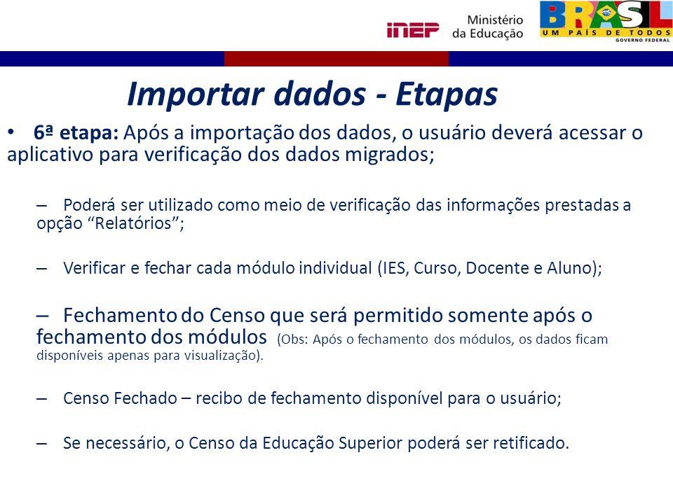 6ª etapa: Após a importação dos dados, o usuário deverá acessar o aplicativo para verificação dos dados migrados; – Poderá ser utilizado como meio de