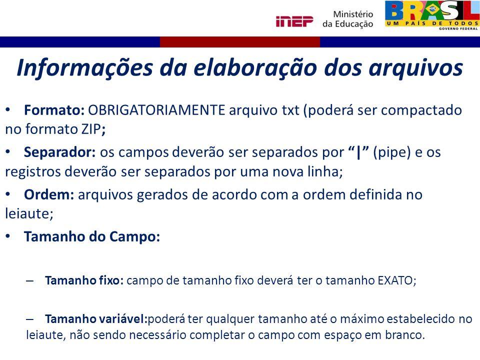 Informações da elaboração dos arquivos Formato: OBRIGATORIAMENTE arquivo txt (poderá ser compactado no formato ZIP; Separador: os campos deverão ser s