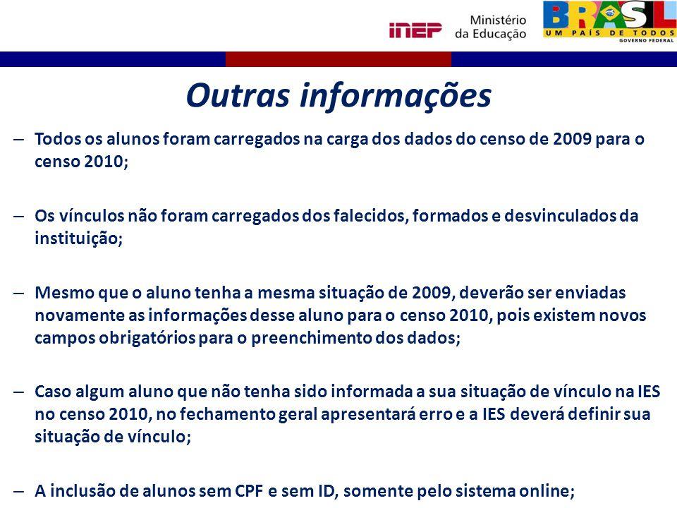 Outras informações – Todos os alunos foram carregados na carga dos dados do censo de 2009 para o censo 2010; – Os vínculos não foram carregados dos fa