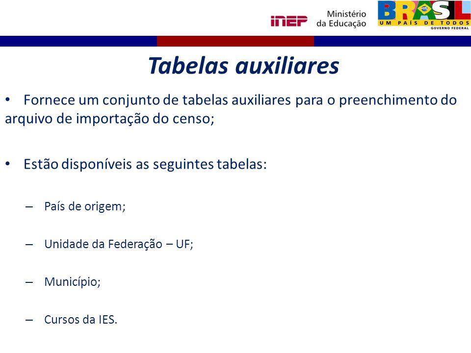 Fornece um conjunto de tabelas auxiliares para o preenchimento do arquivo de importação do censo; Estão disponíveis as seguintes tabelas: – País de or