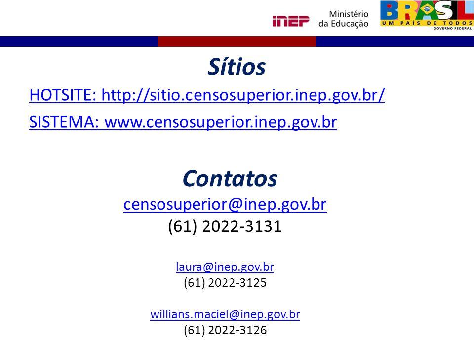 Sítios HOTSITE: http://sitio.censosuperior.inep.gov.br/ SISTEMA: www.censosuperior.inep.gov.br censosuperior@inep.gov.br (61) 2022-3131 laura@inep.gov