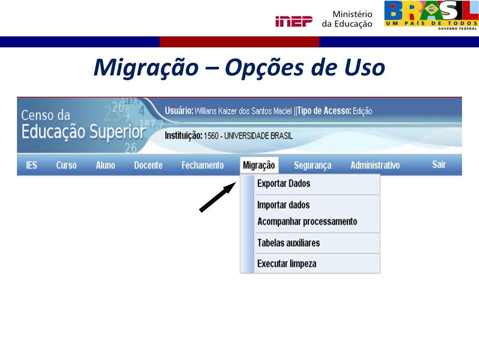 Migração – Opções de Uso
